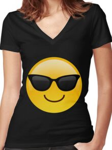 Cool Emoji Women's Fitted V-Neck T-Shirt