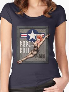"""Paper Doll"" WWII Nose Art Women's Fitted Scoop T-Shirt"