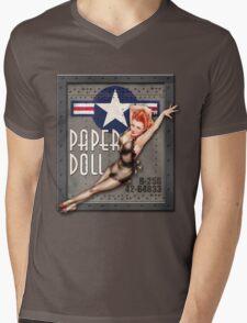 """Paper Doll"" WWII Nose Art Mens V-Neck T-Shirt"