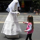 Busking Bride & little girl - Bourke St Melbourne by Bev Pascoe