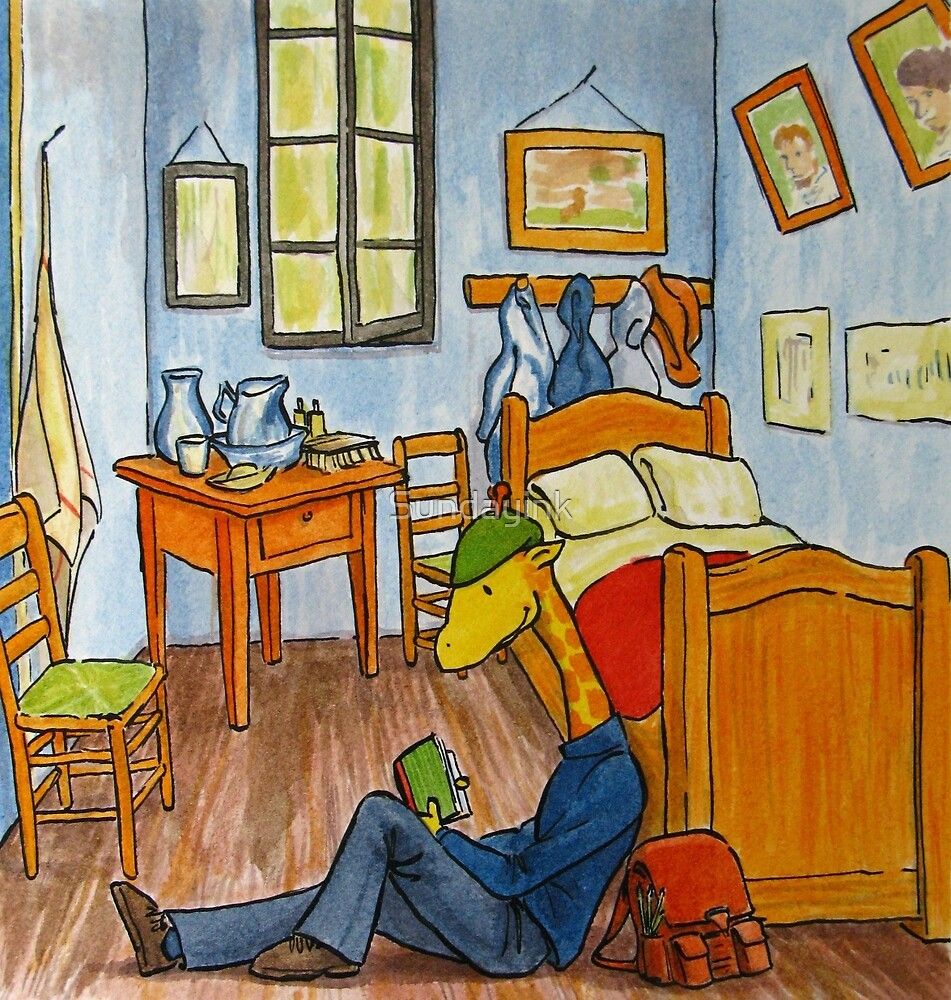 Art Giraffe- Bedroom at Arles by Sundayink