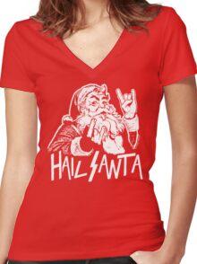 Hail Santa Women's Fitted V-Neck T-Shirt