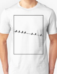Black Birds on a Wire Unisex T-Shirt