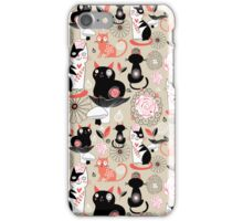 Floral pattern with cats iPhone Case/Skin