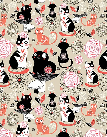 Floral pattern with cats by Tanor