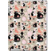 Floral pattern with cats iPad Case/Skin