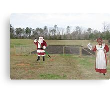 Santa hated the off-season, when it was Mrs. Claus' turn to shout 'Hoe hoe hoe!' Metal Print