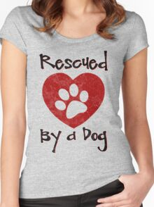Rescued by a Dog - Adopt a Shelter Pet - Rescued Dogs - Adopt a Dog Women's Fitted Scoop T-Shirt