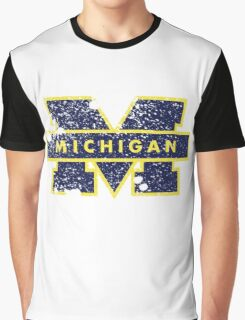 Distressed University of Michigan Logo Graphic T-Shirt
