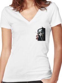 Scream Horror Movie Women's Fitted V-Neck T-Shirt