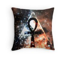 Hipster Space Ankh Throw Pillow
