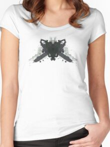 Leatherface Texas Chainsaw Massacre Inkblot  Women's Fitted Scoop T-Shirt