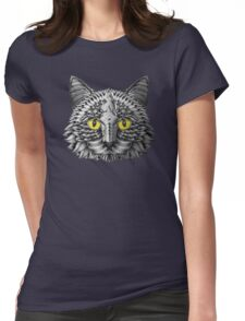 Ornate Black Cat Womens Fitted T-Shirt