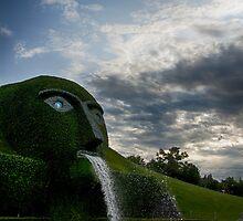 Fine art landscape photography Swarovski museum outdoor garden fountain - Il Gigante di Cristallo by visionitaliane