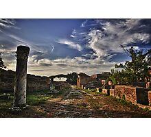 Ancient roman road Ostia Antica ancient ruins and vegetation travel history fine art color wall art - Le strade portano a... Photographic Print