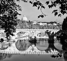 Rome Tiber river Saint Peter and bridge - fine art black and white - Classic From Italy by visionitaliane