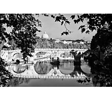 Rome Tiber river Saint Peter and bridge - fine art black and white - Classic From Italy Photographic Print