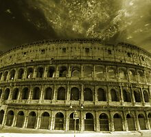 Colosseum in Rome travel historic fine art gold tone wall art from Italy - L'Arena by visionitaliane