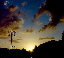 Silhouette of Rome skyline against clouds and sky at sunset travel color - Il Dolce Tramonto by visionitaliane