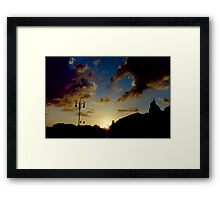 Silhouette of Rome skyline against clouds and sky at sunset travel color - Il Dolce Tramonto Framed Print