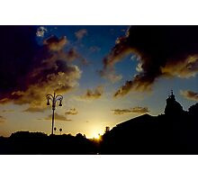 Silhouette of Rome skyline against clouds and sky at sunset travel color - Il Dolce Tramonto Photographic Print