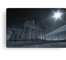 Cathedral architecture travel photography from Europe wall art cyan tone black and white - Sotto l'occhio del Sole Canvas Print