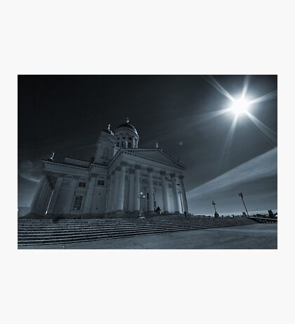 Cathedral architecture travel photography from Europe wall art cyan tone black and white - Sotto l'occhio del Sole Photographic Print