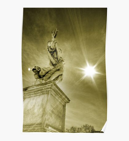 Architecture and Angel statue against the sun Rome travel gold tone wall art home decor - L'Angelo Poster