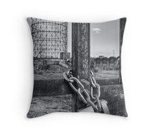 Industrial black and white architecture and chained gate - La Roma che non vedi Throw Pillow