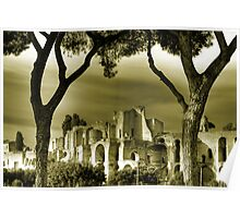 Circus Maximus ruins in Rome travel historic fine art gold tone wall art landscape from Italy - Urla nel silenzio   Poster