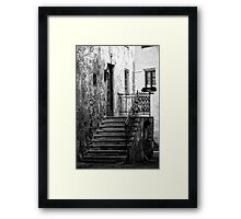 Old staircase street black and white fine art photography from Europe - Gli scalini di un Tempo Framed Print