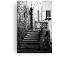 Old staircase street black and white fine art photography from Europe - Gli scalini di un Tempo Canvas Print