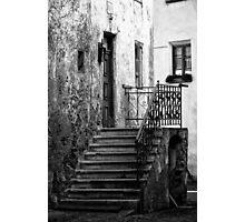 Old staircase street black and white fine art photography from Europe - Gli scalini di un Tempo Photographic Print