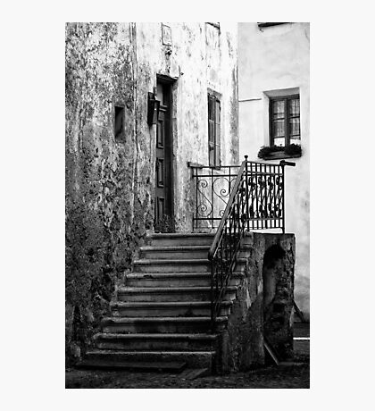 Old staircase street black and white fine art photography from Europe - Gli scalini di un Tempo Photographic Print