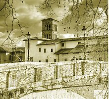 Rome Italy gold toning architecture travel romantic photography - Il Ponte più Antico by visionitaliane