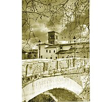 Rome Italy gold toning architecture travel romantic photography - Il Ponte più Antico Photographic Print