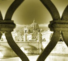Rome Italy gold toning architecture travel romantic photography Saint Peter and the Tiber - Gabbia by visionitaliane