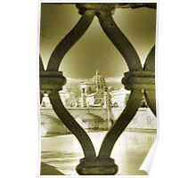 Rome Italy gold toning architecture travel romantic photography Saint Peter and the Tiber - Gabbia Poster