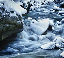 Winter scene snow and frozen creek - wall art home decor color - Acqua e Ghiaccio by visionitaliane