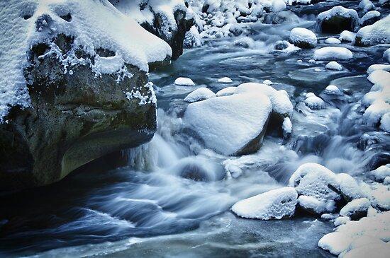 Winter scene snow and frozen creek - wall art home decor color - Acqua e Ghiaccio by visionitaliane