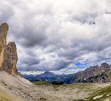Tre Cime Dolomites mountain panorama fine art panoramic color print - I Tre Giganti by visionitaliane