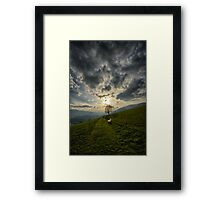 Lonely tree against sunset meadow in the Alps color photo wall art - Il primo Albero Framed Print