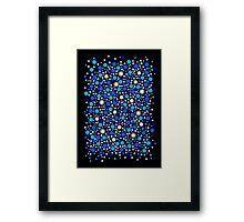 Blue Dots on Black Framed Print