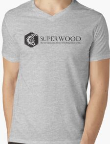 SuperWood 21st Century Tee - Black Logo Mens V-Neck T-Shirt