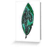 Green Leaf Like Feather Greeting Card