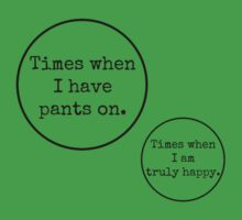 Venn Diagram : Times when I have pants on VS Times when I am truly happy by Bundjum