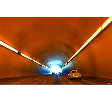 Driving into the road tunnel Photographic Print