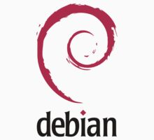 "Debian - Original logo and color, includes ""debian"" black text by carrascord"