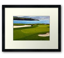 Golf green by the ocean Framed Print
