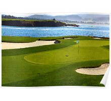 Golf green by the ocean Poster